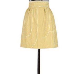exc ANTHROPOLOGIE floreat mustard skirt 2 4 (F7)